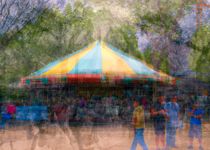 Photo impressionistic image; carousel in the round - Stephen D'Agostino 2013